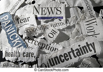 newspaper headlines - various newspaper headlines showing...
