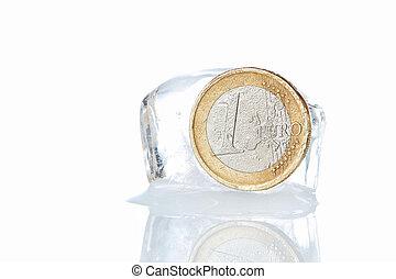 Frozen coin euro. Times of crisis.
