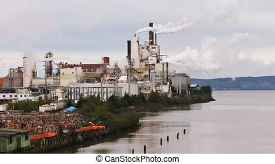 Industrial Factory Mill Belching - A large industrial mill...