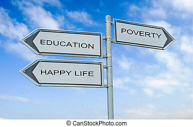 Road sign to education, happy life and poverty and poverty