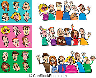 big set of happy people - cartoon illustration of happy...