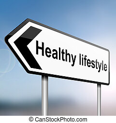 Healthy lifestyle - illustration depicting a sign post with...