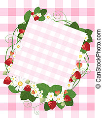 strawberry notecard - an illustration of a pale gingham note...