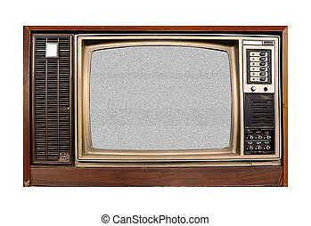 old tv with TV snow noise isolated on white