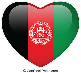 Afghanistan Flag Heart Glossy Button - Vector - Afghanistan...