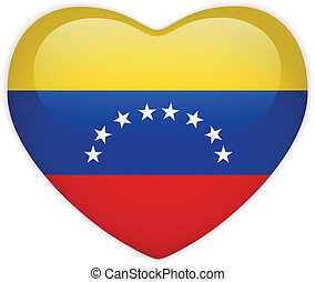 Venezuela Flag Heart Glossy Button - Vector - Venezuela Flag...