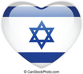 Israel Flag Heart Glossy Button - Vector - Israel Flag Heart...