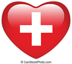 Switzerland Flag Heart Glossy Button - Vector - Switzerland...