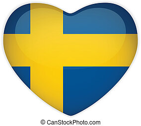 Sweden Flag Heart Glossy Button - Vector - Sweden Flag Heart...
