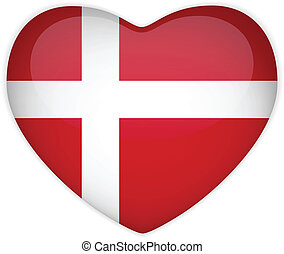 Denmark Flag Heart Glossy Button - Vector - Denmark Flag...