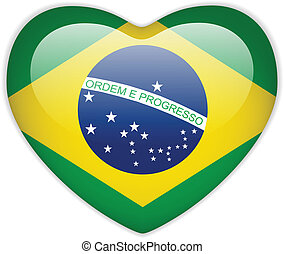 Brazil Flag Heart Glossy Button - Vector - Brazil Flag Heart...