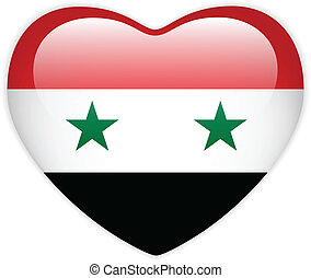 Syria Flag Heart Glossy Button - Vector - Syria Flag Heart...