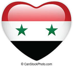 Syria Flag Heart Glossy Button - Vector - Syria Flag Heart...