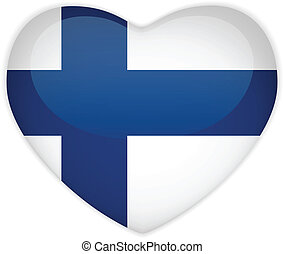 Finland Flag Heart Glossy Button - Vector - Finland Flag...