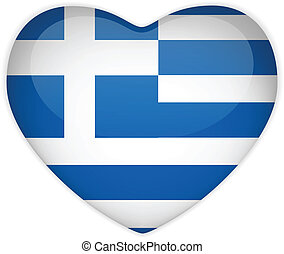 Greece Flag Heart Glossy Button - Vector - Greece Flag Heart...