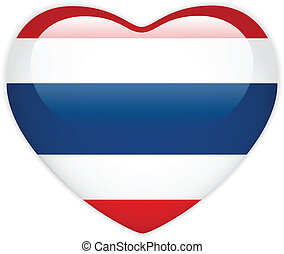 Thailand Flag Heart Glossy Button - Vector - Thailand Flag...