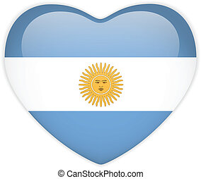 Argentina Flag Heart Glossy Button - Vector - Argentina Flag...