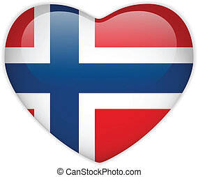 Norway Flag Heart Glossy Button - Vector - Norway Flag Heart...