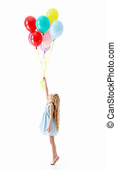 Happiness - Girl with balloons on a white background
