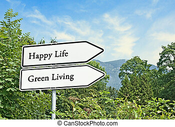 Road signs to Happy life and green living