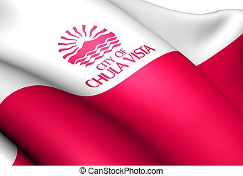 Flag of Chula Vista, USA. Close Up.