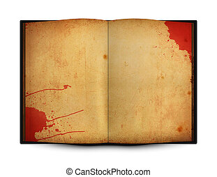 Blood stain on old open book
