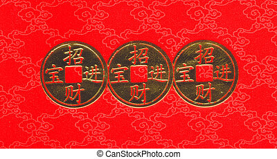 Chinese gold coin on red