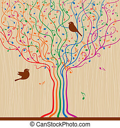 Musical Tree - Abstract musical tree in retro style Vector...