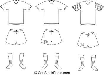 vector, futbol, jugador, uniforme