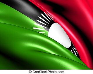 Flag of Malawi. Close Up.
