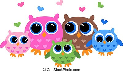 colorful owl family - a colorful owl family