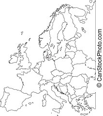 Europe vector map - Outline Contour Vector map