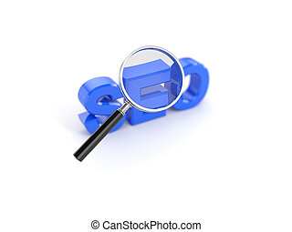 Seo concept with magnifying glass
