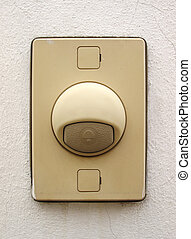 Door bell ring on white wall