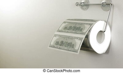 Dollar Toilet Paper - Hand taking sheets of dollar from a...