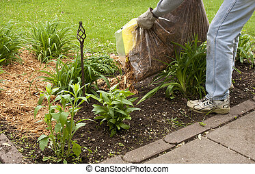 mulching a flower garden - man spreading cypress mulch in a...