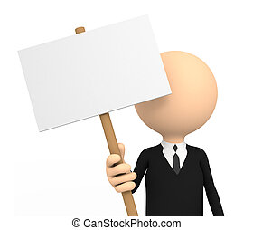 3d person with blank banner