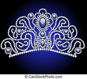 wedding feminine diadem with blue stone - illustration...
