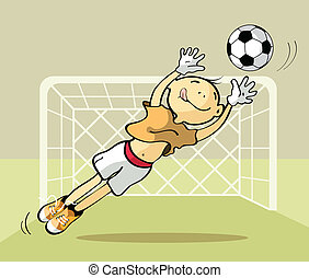 Goalkeeper catching the ball - Vector illustration of a...