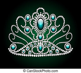 wedding feminine diadem on green background