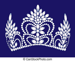 wedding feminine diadem from pearl - illustration wedding...