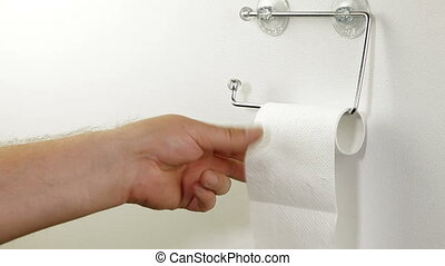 Taking Sheets Of Toilet Paper - Hand taking sheets of paper...