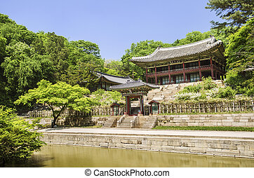 palace garden building seoul south korea - building in...