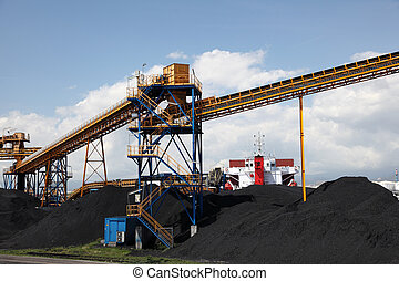 Black coal at the industrial port