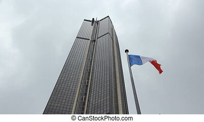 Tour Montparnasse with French Flag - The Tour Montparnasse...