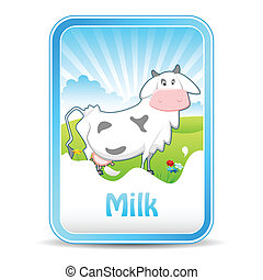 Cow on Milk Banner - illustration of cow in meadow on milk...