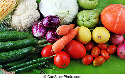 Colorful organic vegetables from farm on display - Fresh...