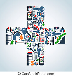 Property service icons plus symbol - Real estate icon set in...