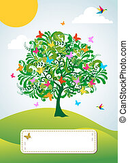 Abstract spring time tree greeting card