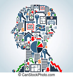 Property market business man head - Real estate icon set in...